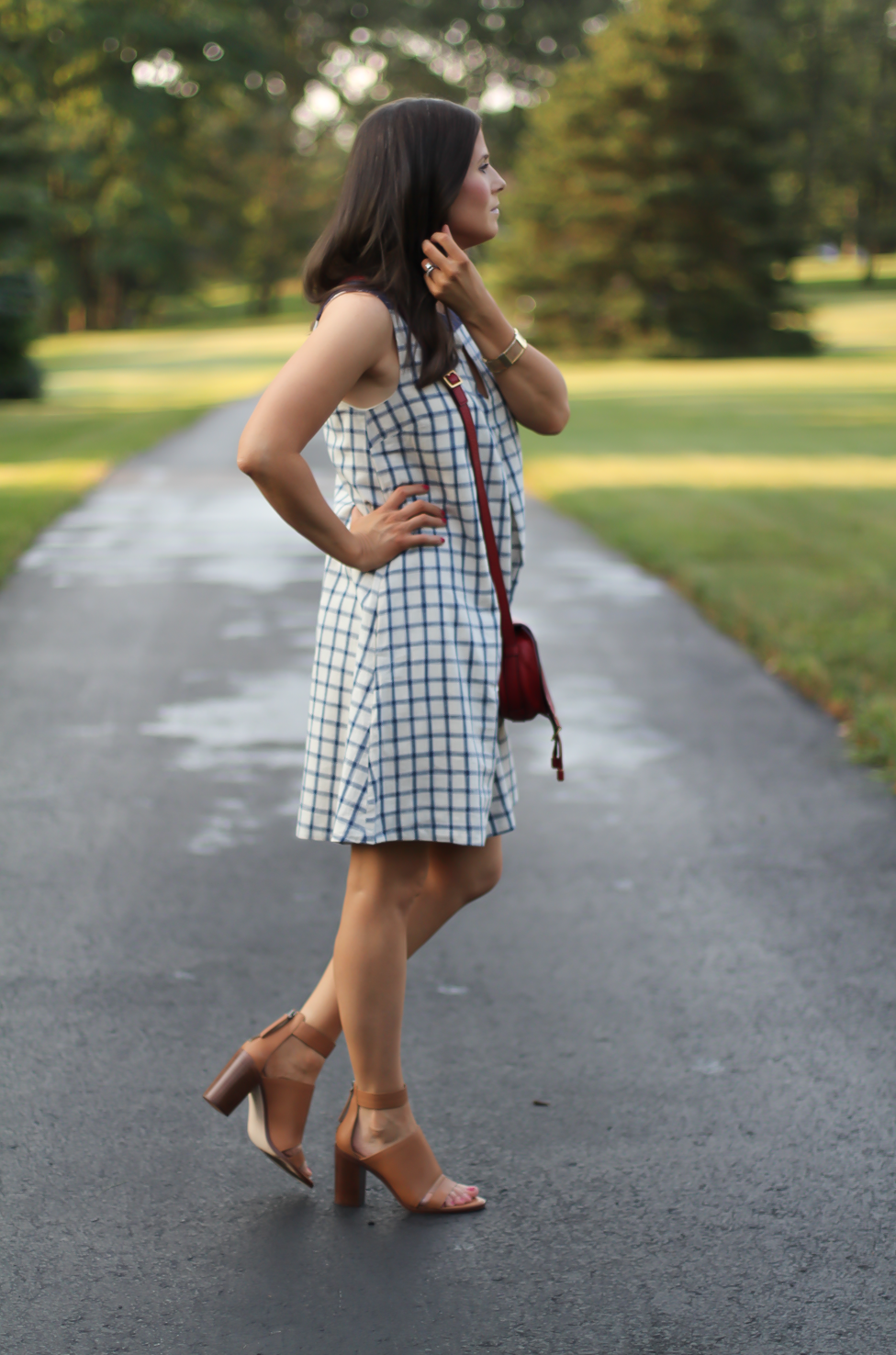 Blue Embroidered Plaid Dress, Red Saddlebag Crossbody, Tan Strap Sandals, Madewell, Chloe, Zimmermann 4