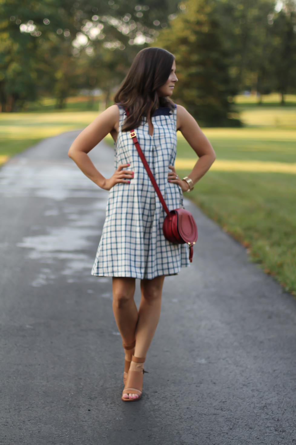Blue Embroidered Plaid Dress, Red Saddlebag Crossbody, Tan Strap Sandals, Madewell, Chloe, Zimmermann 6