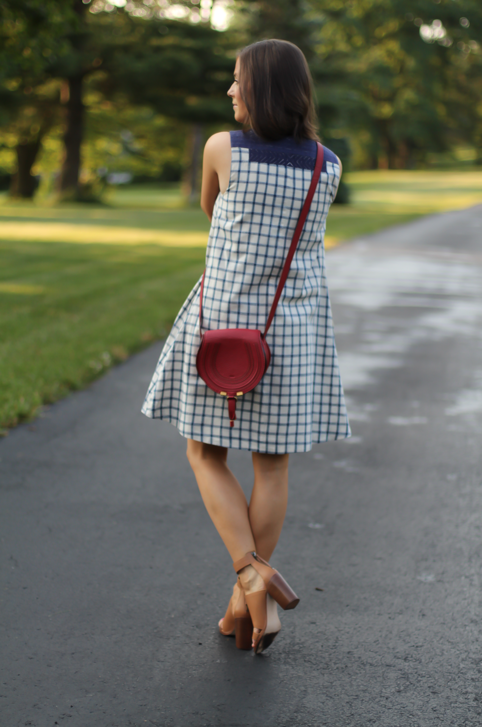 Blue Embroidered Plaid Dress, Red Saddlebag Crossbody, Tan Strap Sandals, Madewell, Chloe, Zimmermann 7