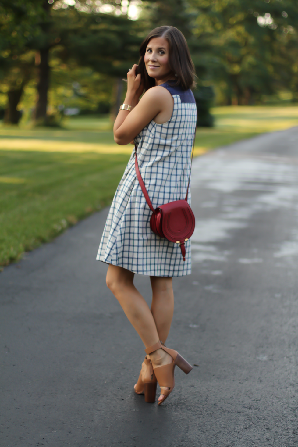 Blue Embroidered Plaid Dress, Red Saddlebag Crossbody, Tan Strap Sandals, Madewell, Chloe, Zimmermann 8