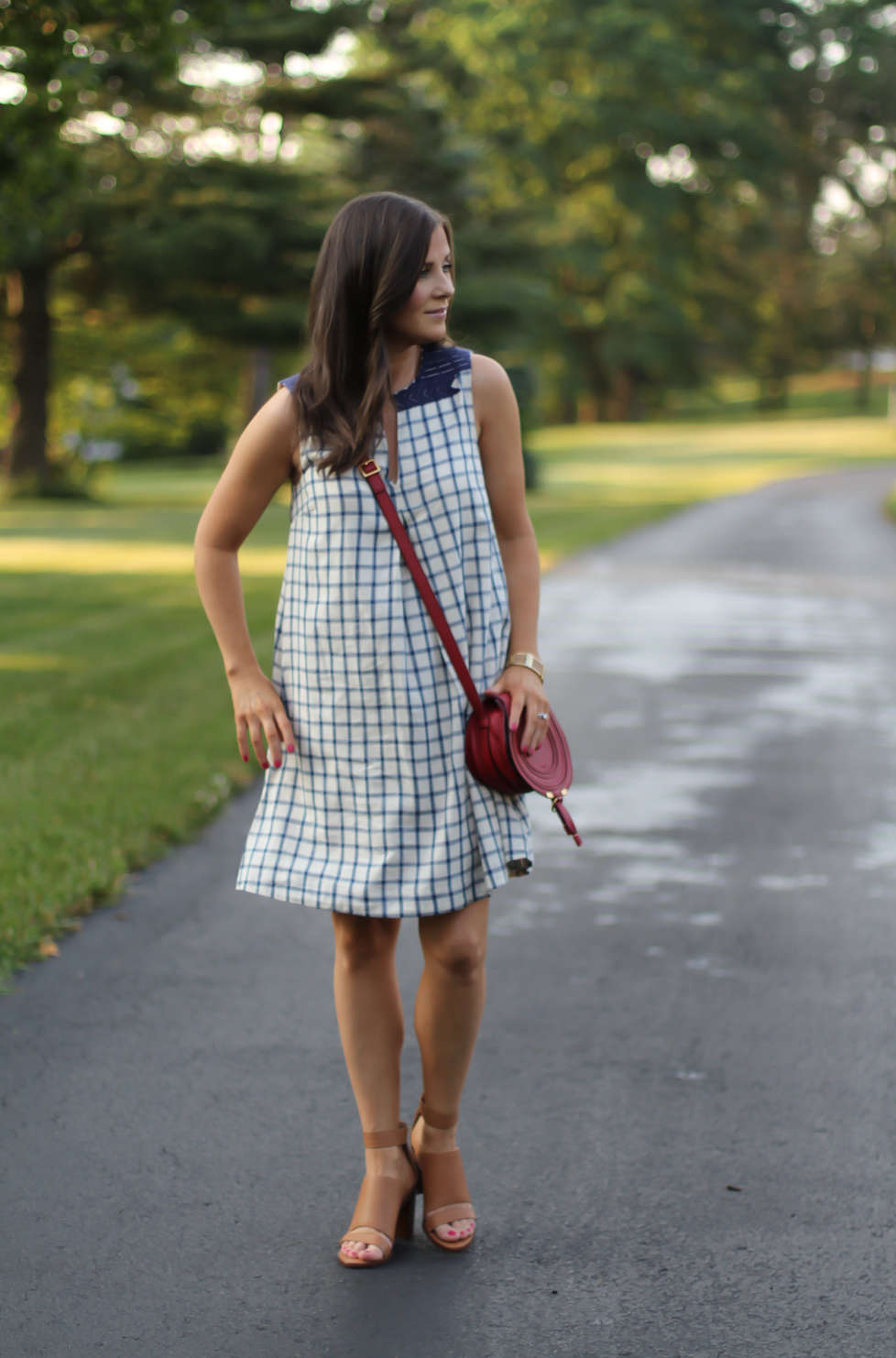 Blue Embroidered Plaid Dress, Red Saddlebag Crossbody, Tan Strap Sandals, Madewell, Chloe, Zimmermann 9