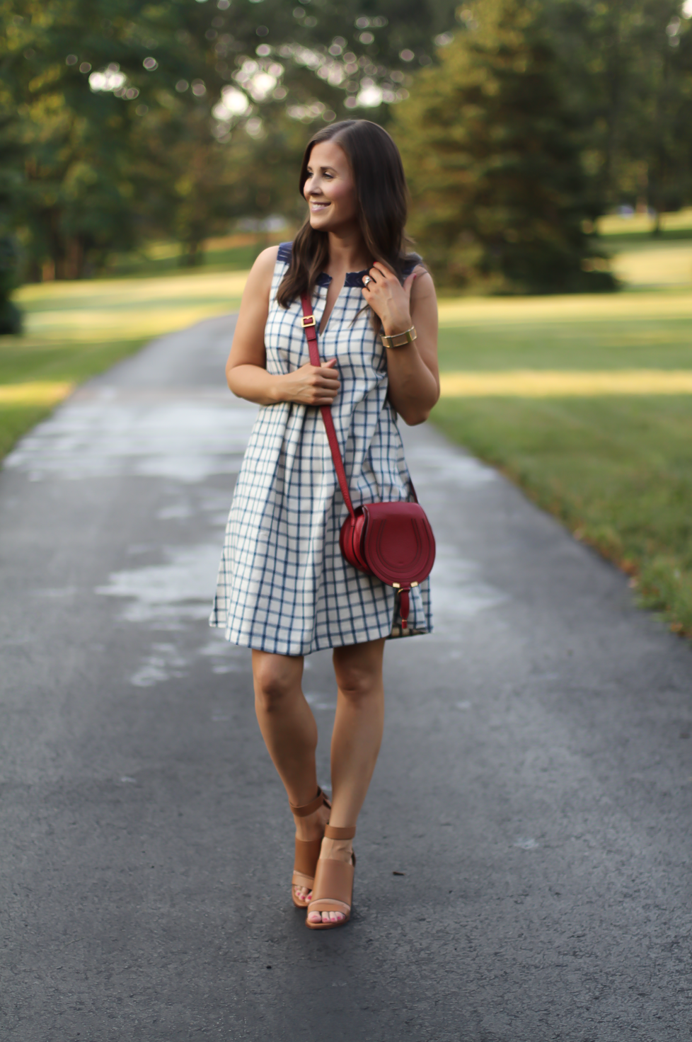 Blue Embroidered Plaid Dress, Red Saddlebag Crossbody, Tan Strap Sandals, Madewell, Chloe, Zimmermann