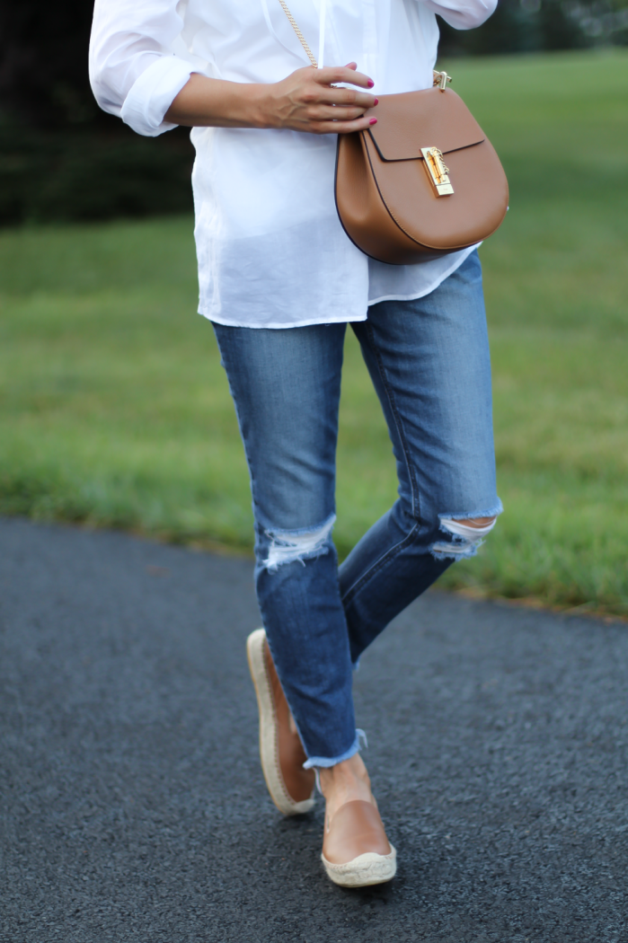 A White Tunic Leather Espadrilles