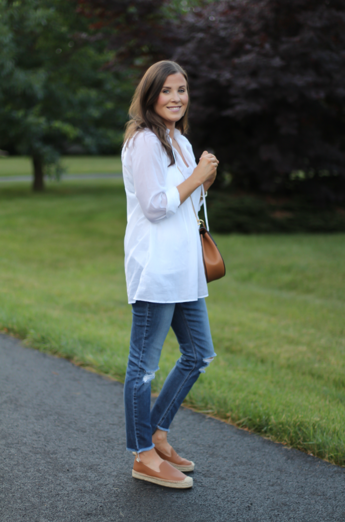 White Summer Tunic Blouse, Distressed Jeans, Tan Leather Espadrille Flats, Tan Chain Strap Crossbody Bag, Loft, Joe's Jeans, Soludos 2