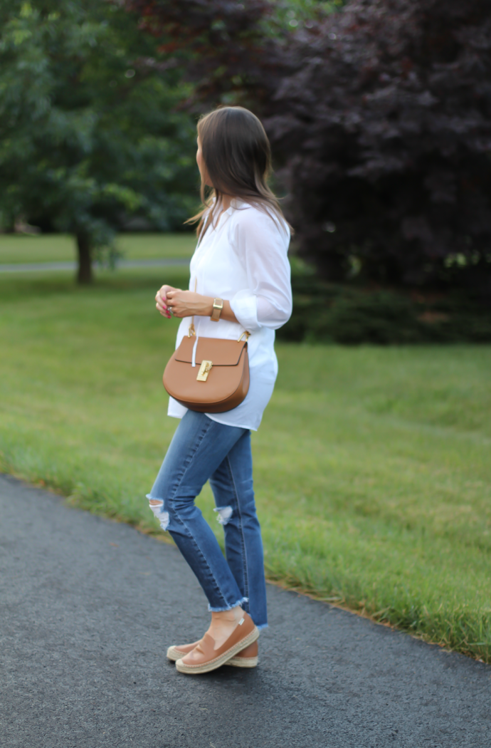 White Summer Tunic Blouse, Distressed Jeans, Tan Leather Espadrille Flats, Tan Chain Strap Crossbody Bag, Loft, Joe's Jeans, Soludos 5
