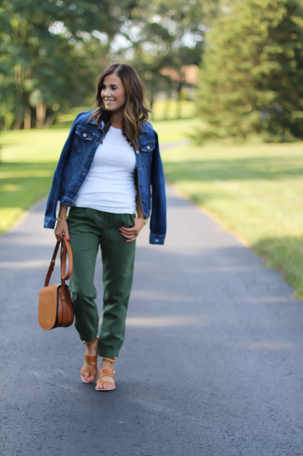 Army Green Joggers, White Sleeveless Shell Tee, Gladiator Sandals, Saddle Bag, J.Crew, tory Burch, Ancient Gladiator 1