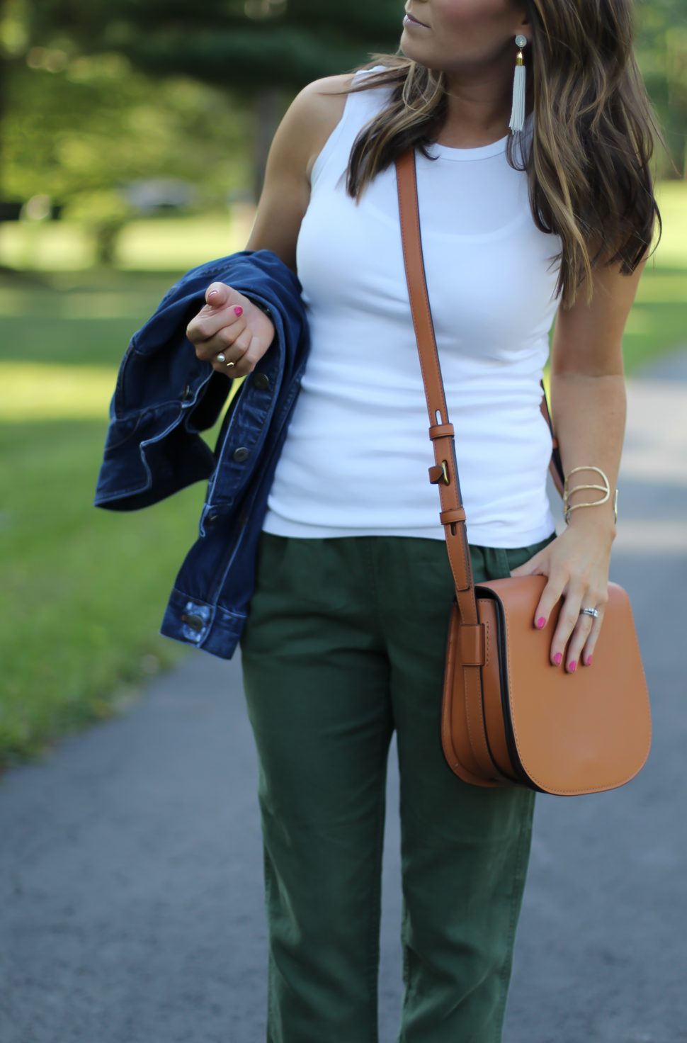 Army Green Joggers, White Sleeveless Shell Tee, Gladiator Sandals, Saddle Bag, J.Crew, tory Burch, Ancient Gladiator 12
