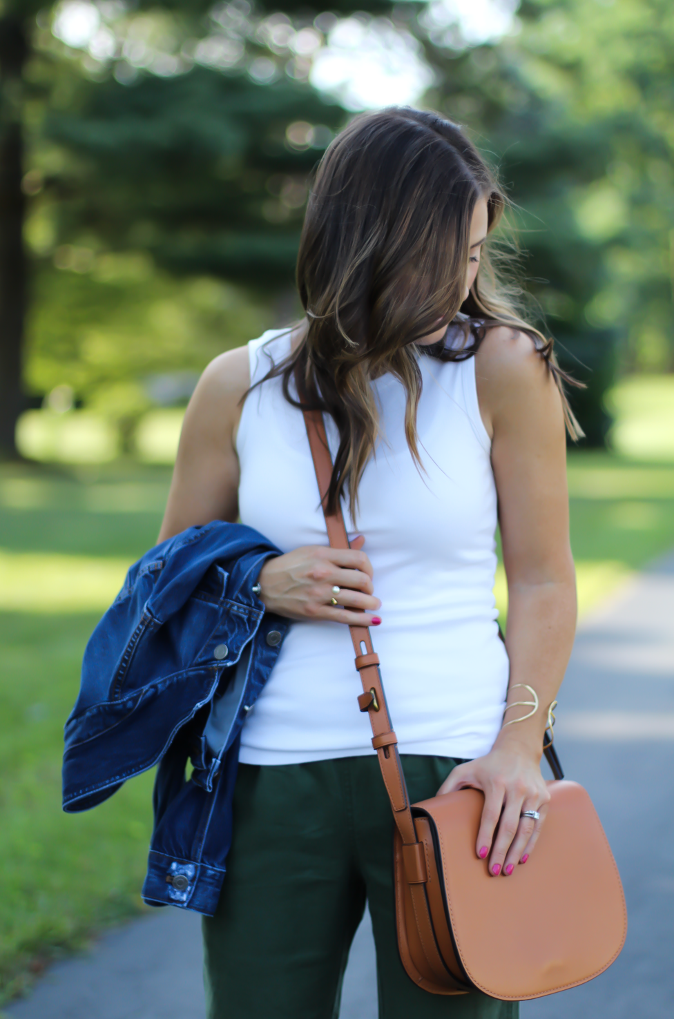 Army Green Joggers, White Sleeveless Shell Tee, Gladiator Sandals, Saddle Bag, J.Crew, tory Burch, Ancient Gladiator 13