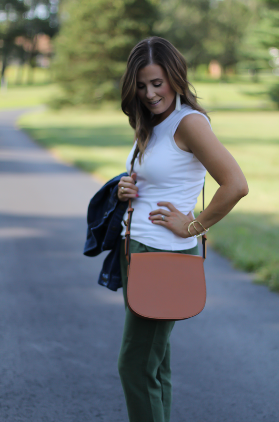 Army Green Joggers, White Sleeveless Shell Tee, Gladiator Sandals, Saddle Bag, J.Crew, tory Burch, Ancient Gladiator 15