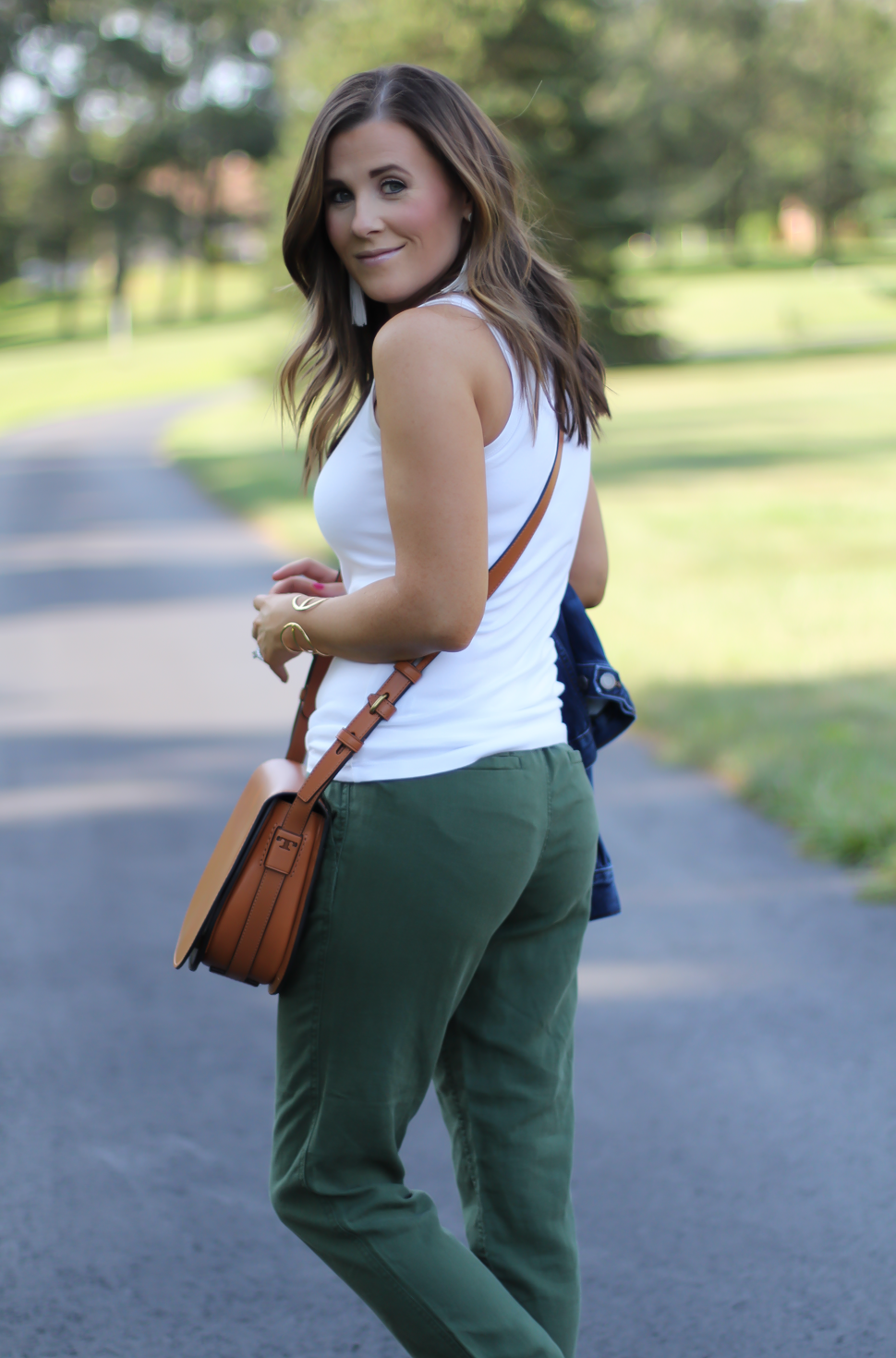 Army Green Joggers, White Sleeveless Shell Tee, Gladiator Sandals, Saddle Bag, J.Crew, tory Burch, Ancient Gladiator 17