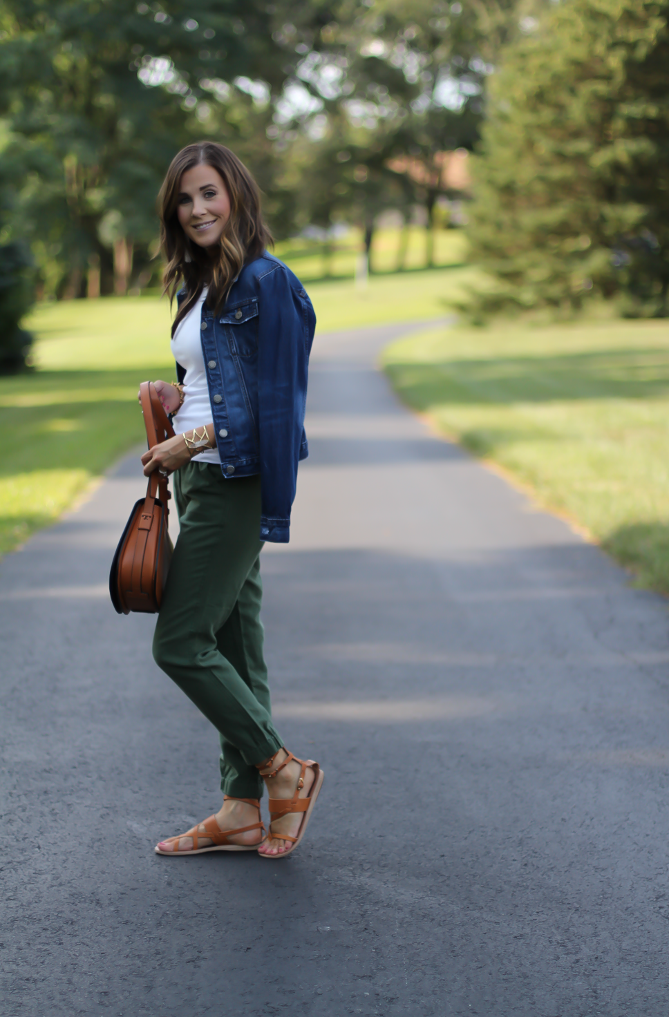 Army Green Joggers, White Sleeveless Shell Tee, Gladiator Sandals, Saddle Bag, J.Crew, tory Burch, Ancient Gladiator 3