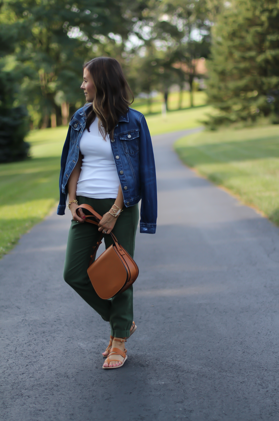 Army Green Joggers, White Sleeveless Shell Tee, Gladiator Sandals, Saddle Bag, J.Crew, tory Burch, Ancient Gladiator 4