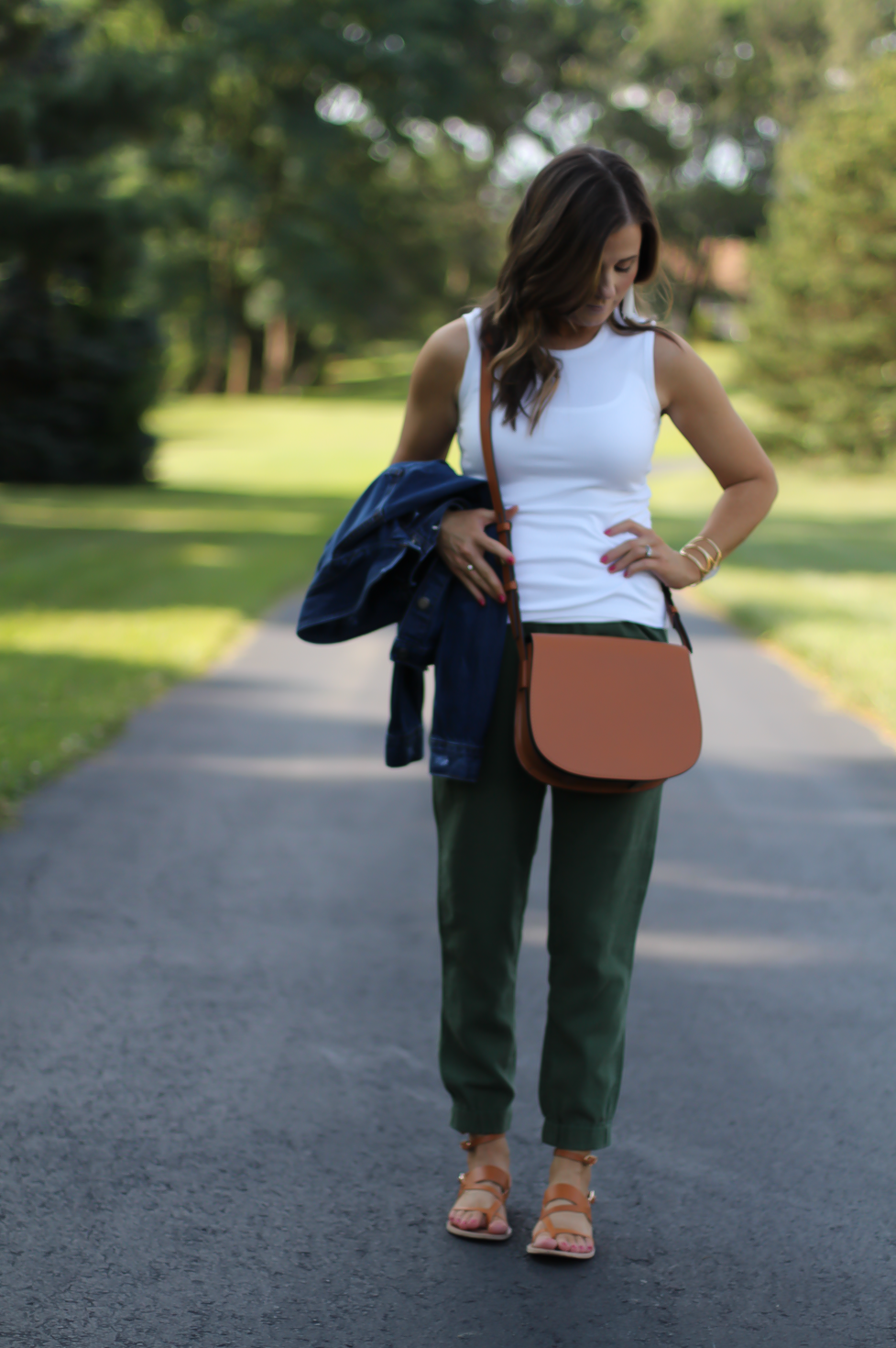 Army Green Joggers, White Sleeveless Shell Tee, Gladiator Sandals, Saddle Bag, J.Crew, tory Burch, Ancient Gladiator 5