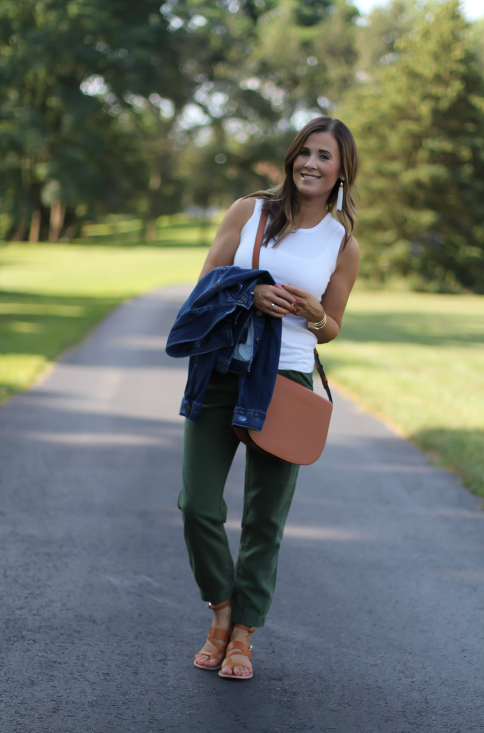 Army Green Joggers, White Sleeveless Shell Tee, Gladiator Sandals, Saddle Bag, J.Crew, tory Burch, Ancient Gladiator 6