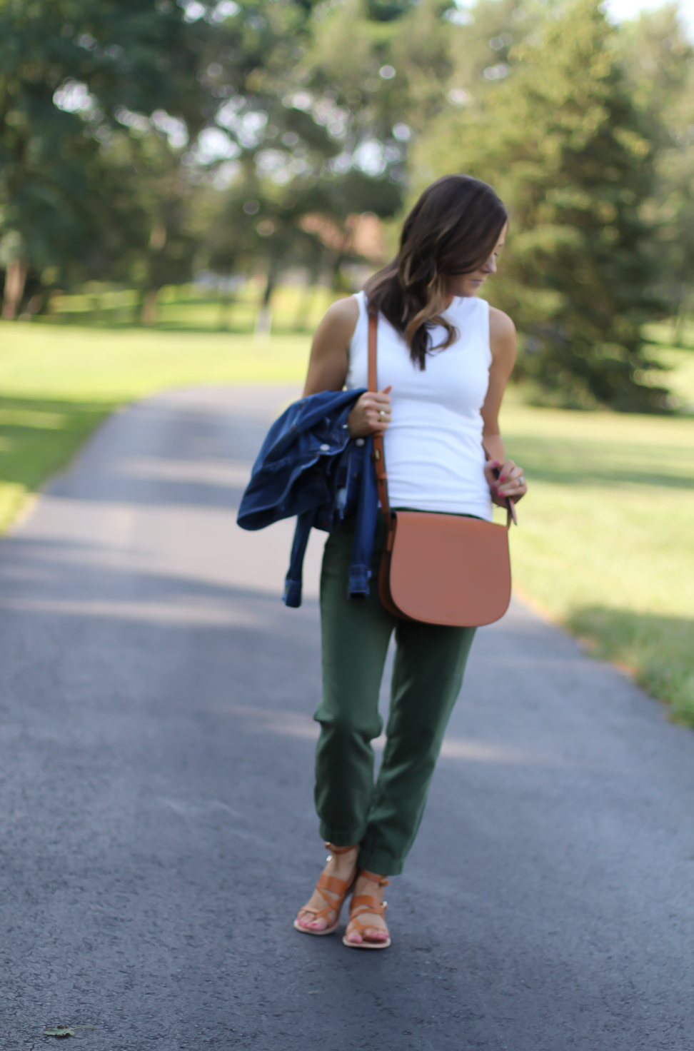 Army Green Joggers, White Sleeveless Shell Tee, Gladiator Sandals, Saddle Bag, J.Crew, tory Burch, Ancient Gladiator 7