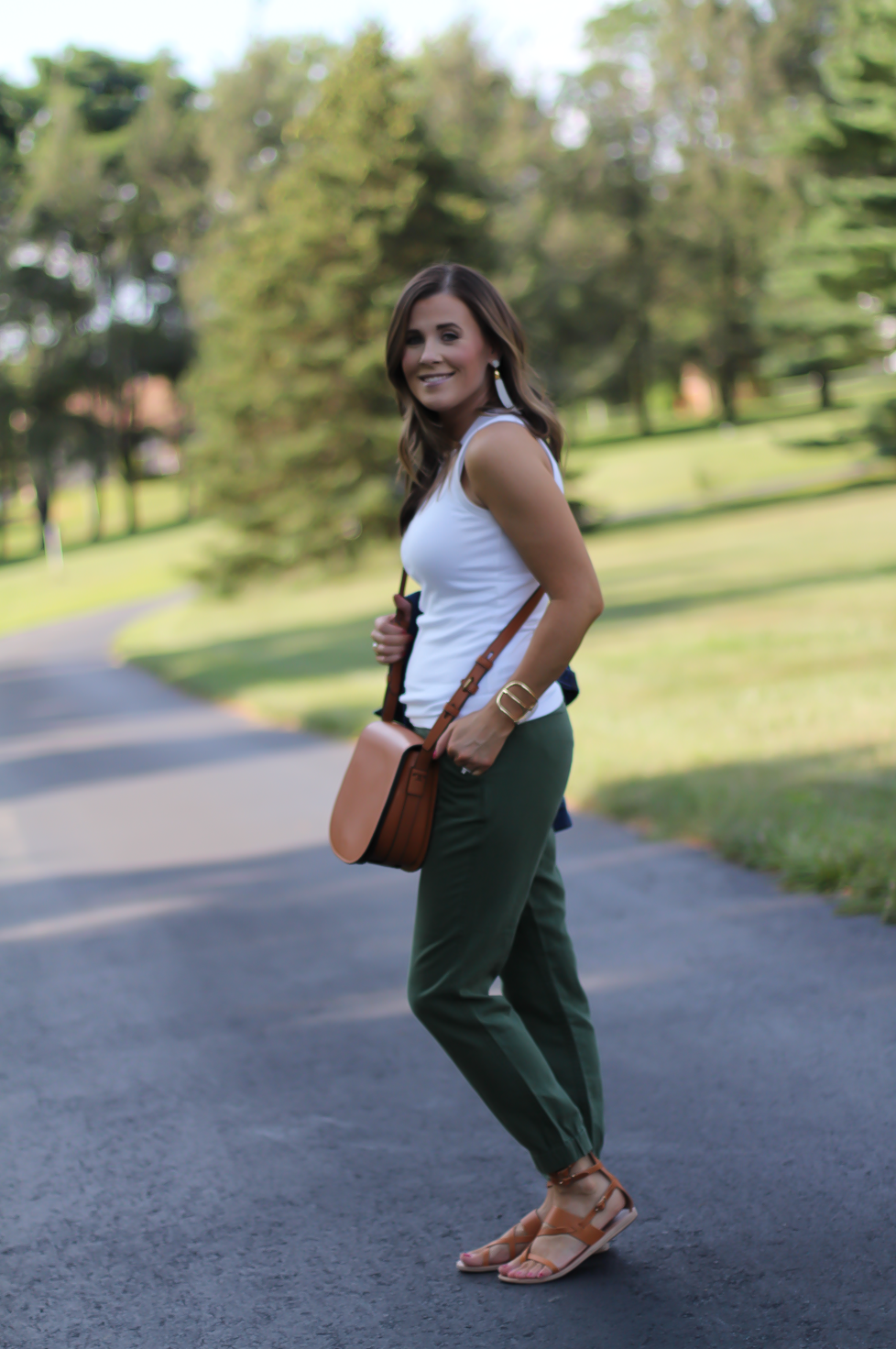 Army Green Joggers, White Sleeveless Shell Tee, Gladiator Sandals, Saddle Bag, J.Crew, tory Burch, Ancient Gladiator 9