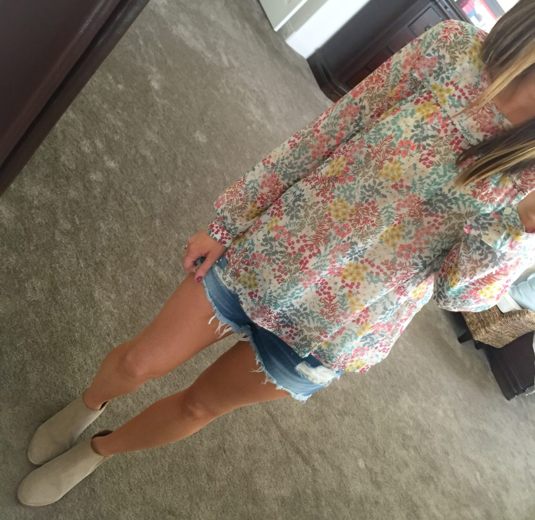 Floral Blouse, Distressed Shorts, Bootie