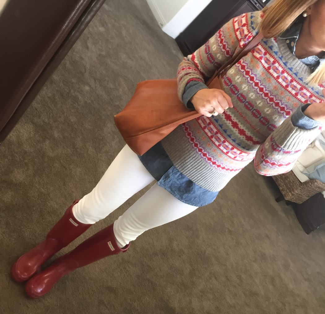 fairisle-chambray-white-skinny-jeans-hunter-boots